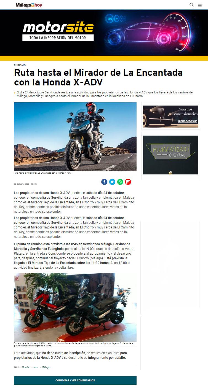 Previo Ruta Honda X-ADV Diario Málaga Hoy